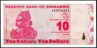 Zimbabwe - (P 94) 10 dollars (2009) - UNC