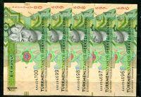 5x Turkmenistán (P 29b) - 1 manat (2014) - UNC