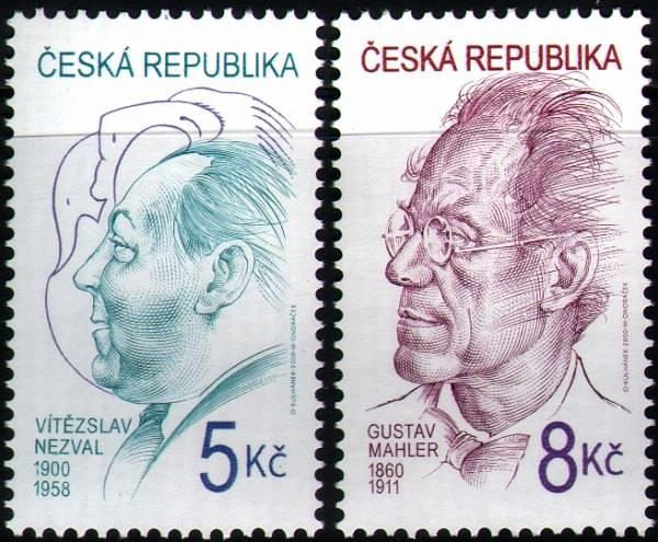 (2000) č. 256-257 ** - 5-8 Kč - OSOBNOSTI (V. Nezval + G. Mahler)