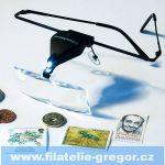 Brýle lupa (3 skla 1,5x; 2,5x; 3,5x) s LED diodou