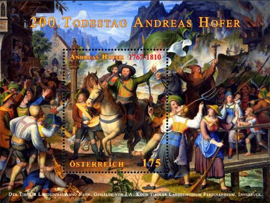 (2010) č. 2856 ** - Rakousko - BLOCK 58 - 200. výročí úmrtí Andrease Hofera
