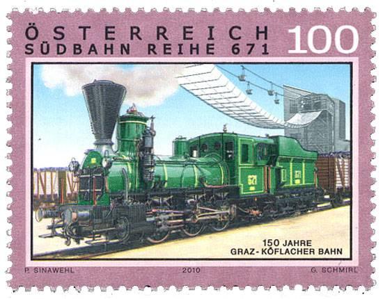 (2010) MiNr. 2861 ** - Rakousko - Železnice (XII): 150 let Köflacher Bahn Österreich post