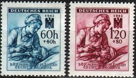 Protektorát Čechy a Morava (1942) č. 100-101 ** B.ü.M. - Německý červený kříž ( III.)