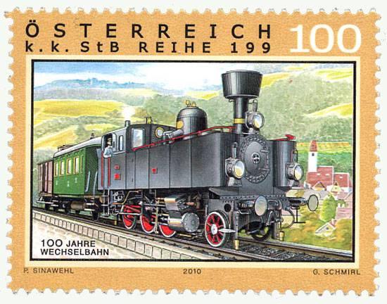 (2010) MiNr. 2893 ** - Rakousko - Železnice (XIV): 100 let změny Aspang-Markt - Friedberg