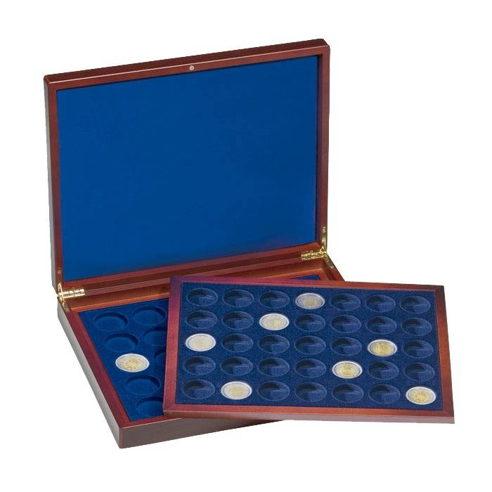 Münzkassette VOLTERRA, zwei Tableaus für je 35 2-Euro-Münzen in Kapseln