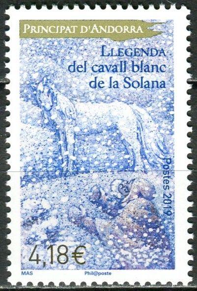 (2019) MiNr. 845 ** - Andora (Fr.) - Legendy - Legenda o bílém koni Solany