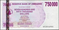 Zimbabwe - (P 52) 750 000 dollars (2007) - UNC