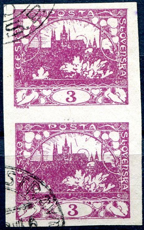 (1918) č. 2 - O - ČSR I. - Hradčany 3 h - fialová