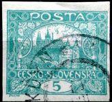 (1918) č. 4 - O - ČSR I. - Hradčany 5 h - modrozelená