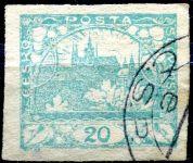 (1918) č. 8 - O - ČSR I. - Hradčany 20 h - modrozelená