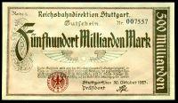 (1923) Říšské dráhy, ředitelství Stuttgarrt (P-S1378) - 500.000.000.000 Marek (UNC)