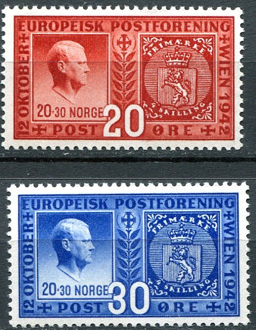 (1942) MiNr.  274 - 275 ** - Norsko - Evropské poštovní unie