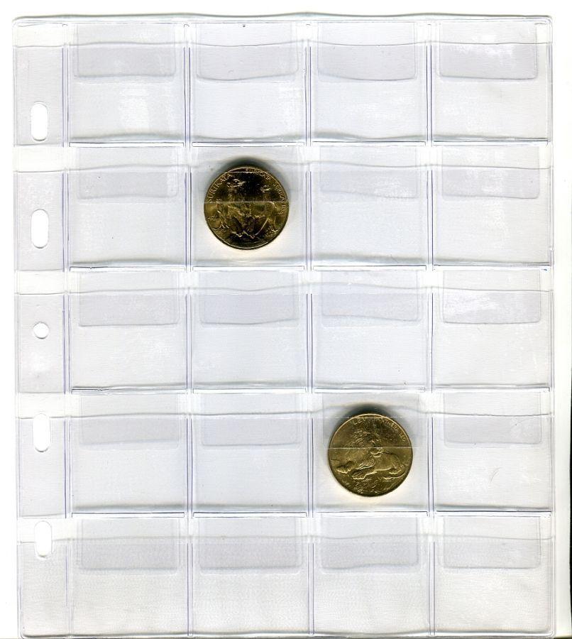 25 ks listů - TGW 20 - na 20 ks mincí s kapsou (rozměr 40x40 mm)