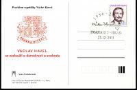 Postcard Vaclav Havel - arrival. stamp PRAHA 012 - CASTLE 23.12.2011