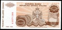 Republika Srbská Krajina (P R29) 50,000,000,000 DINARA (1993) - UNC