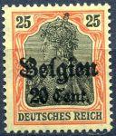 (1916) MiNr. 17 ** - DR/ Belgie - přetisk 20 Cent. / 25 Pf.
