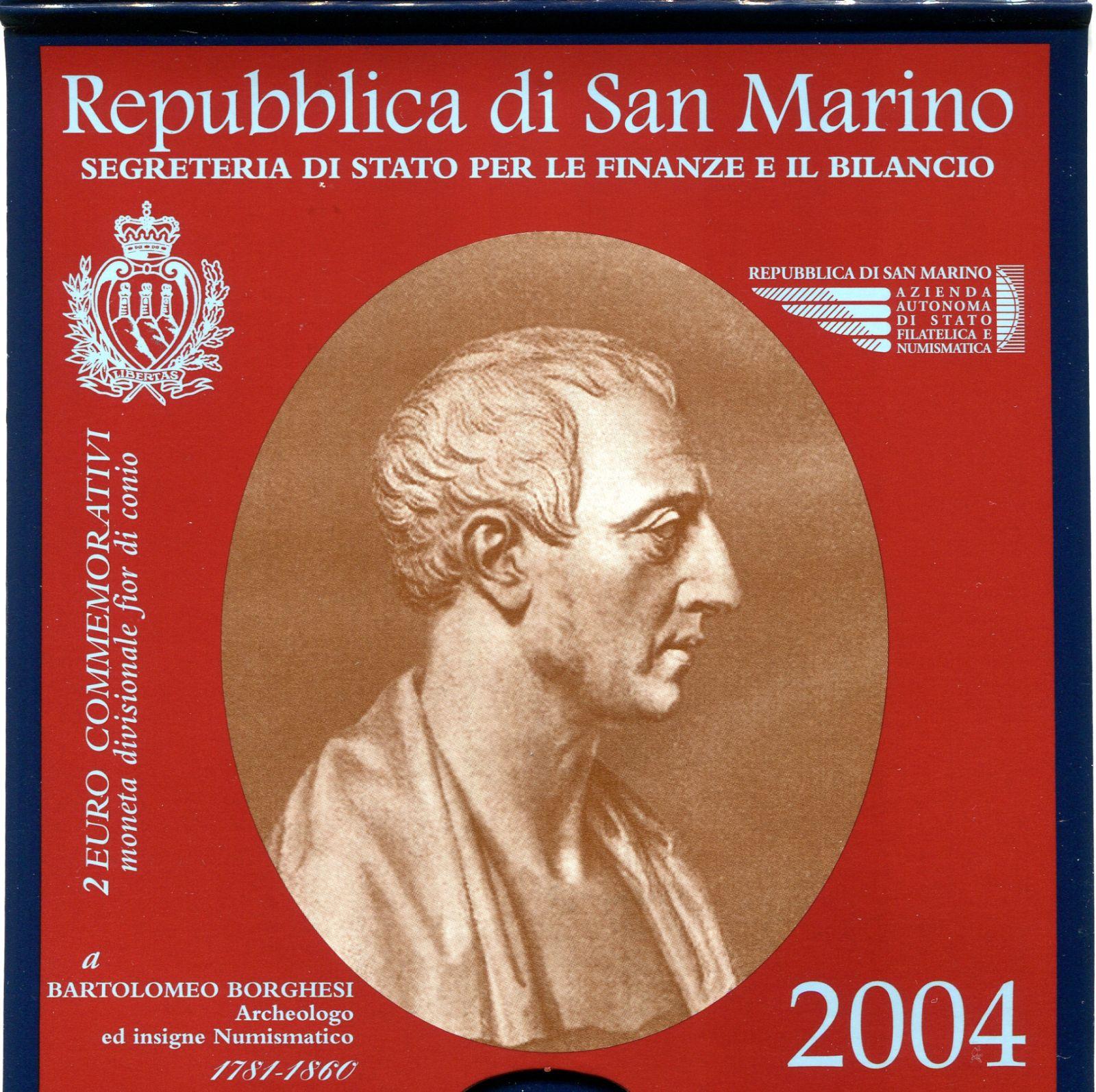 (2004) - 2 € - San Marino - B. Borghesi - mincovní karta (UNC)