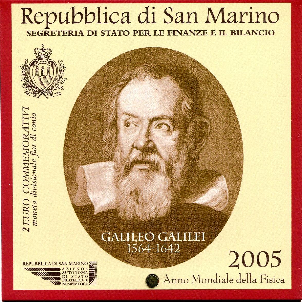 (2005) - 2 € - San Marino - Světový rok fyziky - mincovní karta (UNC) | TGW.cz
