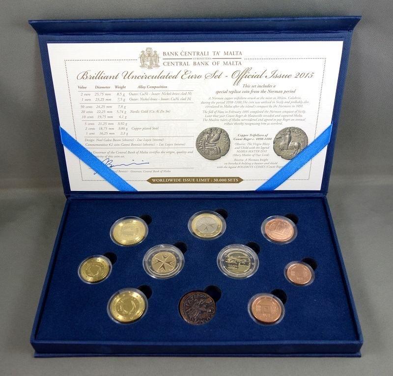 (2015) Set 10 ks mincí v kazetě + certifikát (BU); sada € + replika