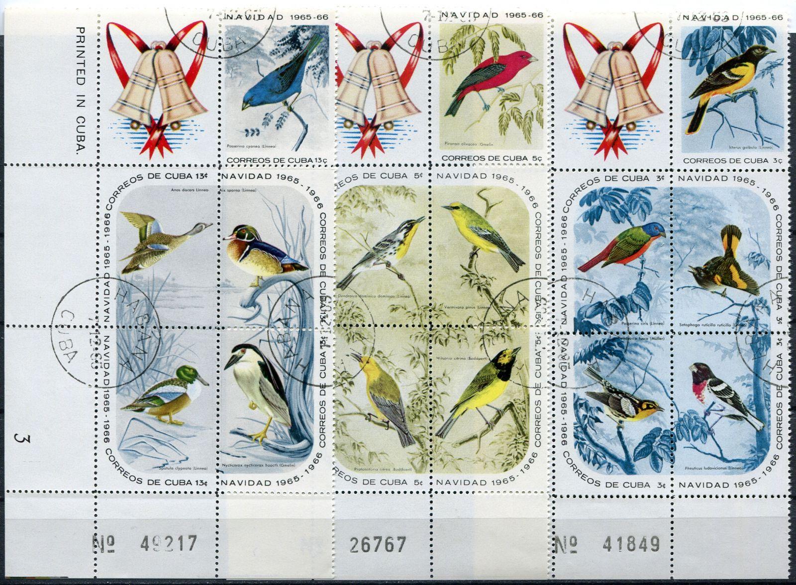 (1965) MiNr. 1088 - 1102 - O - bl. + K - Kuba - Vánoce: ptáci | www.tgw.cz