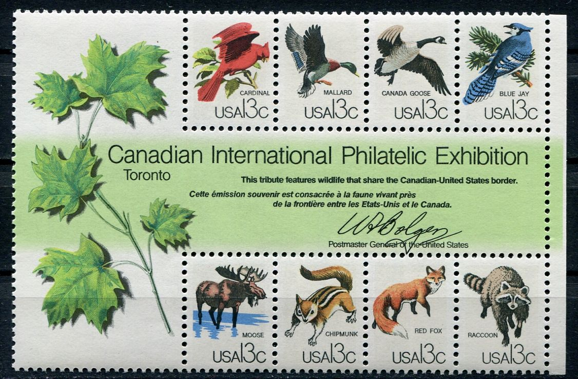 (1978) MiNr. 1343 - 1350 ** - Block 16 - USA - Zvířata na hranici USA a Kanady
