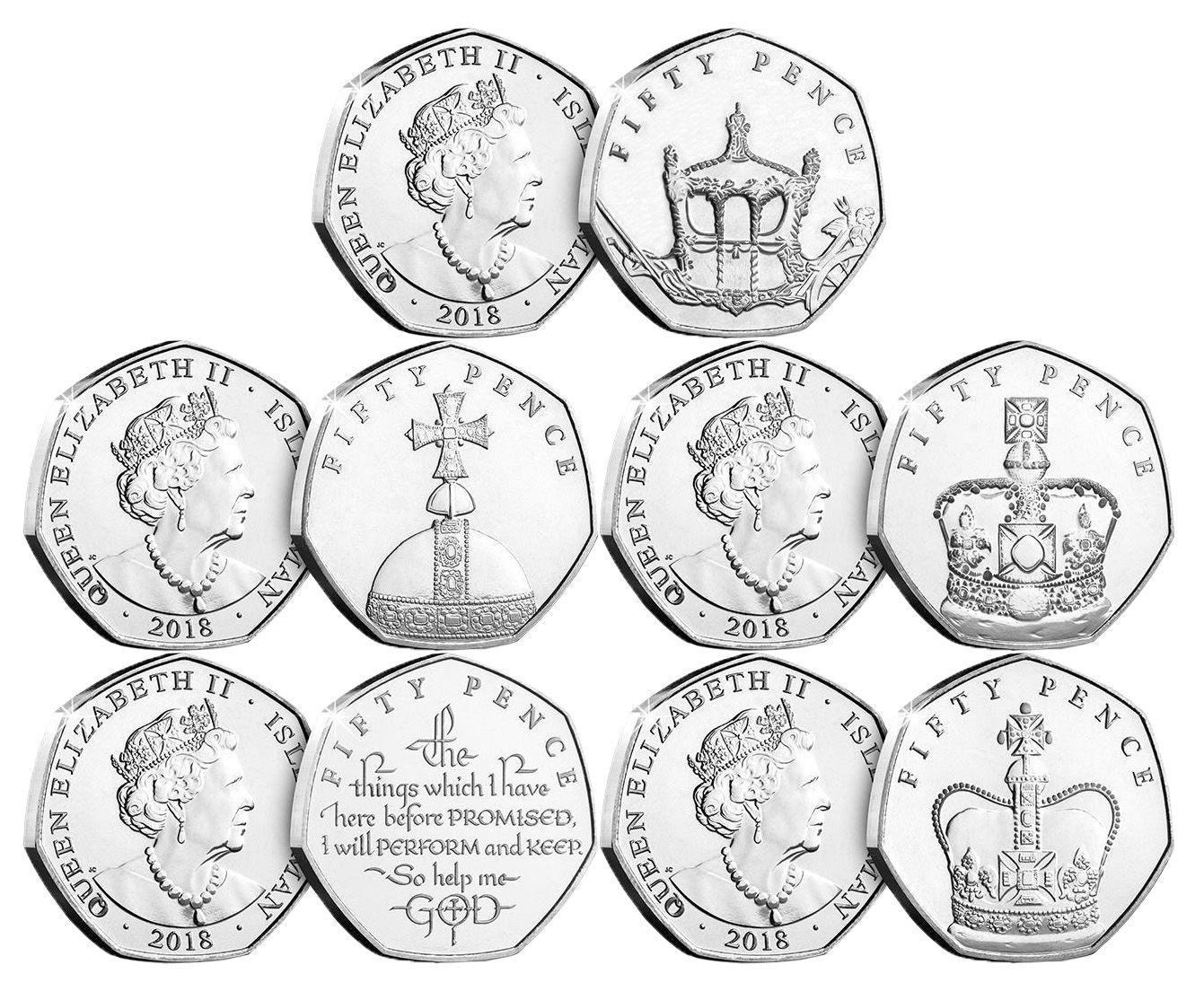 (2018) Isle of Man - set 5x 50 p (0/0) 65. výročí korunovace Alžběty II. | www.tgw.cz
