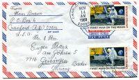 Let. dopis z USA do Německa - 2* známka - První muž na měsíci