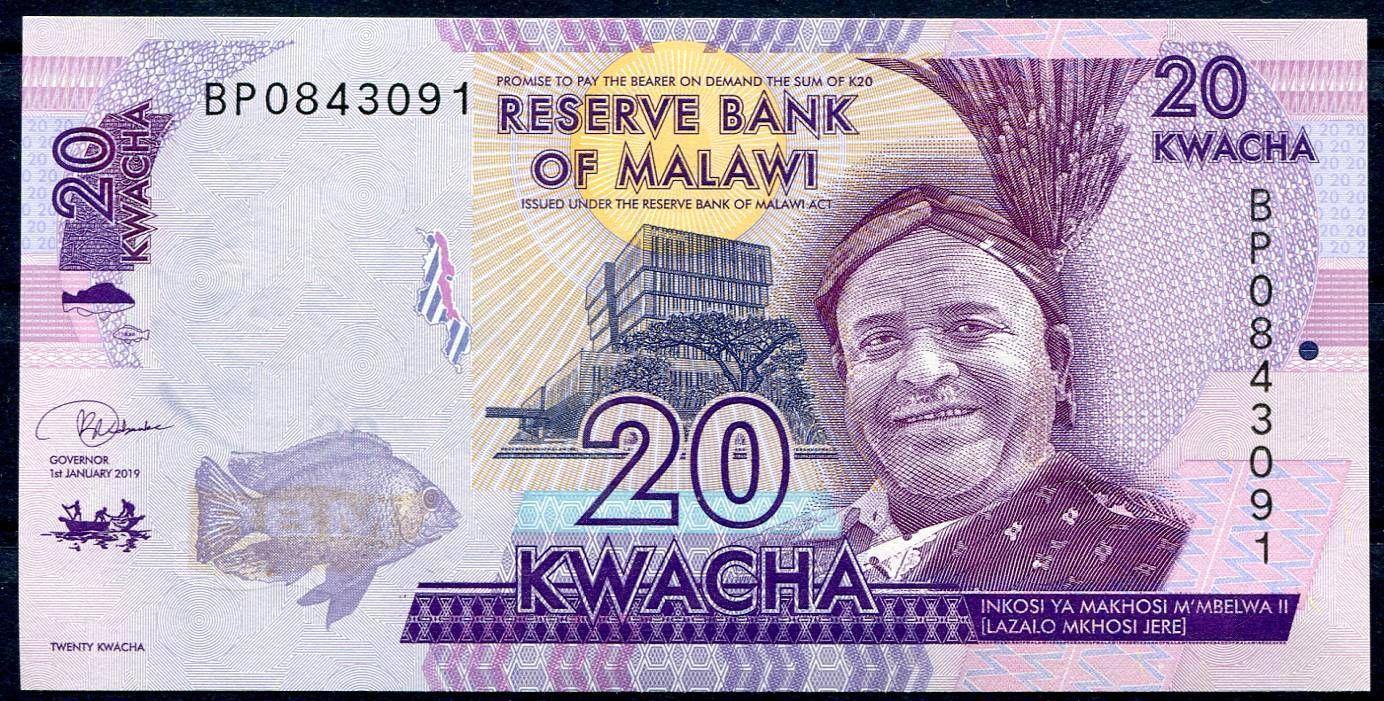 Malawi - (P 63e) 20 KWACHA (2019) - UNC