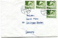 Obálka Švýcarsko - raz. 29.VII.1958 - zaslaná do Německa - námět železnice