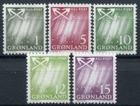 (1963) MiNr. 47 - 51 ** - Grónsko - Polární záře