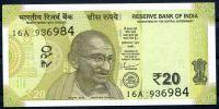 Indie - (P 110c) - 20 RUPEES - písmeno R (2019) - UNC
