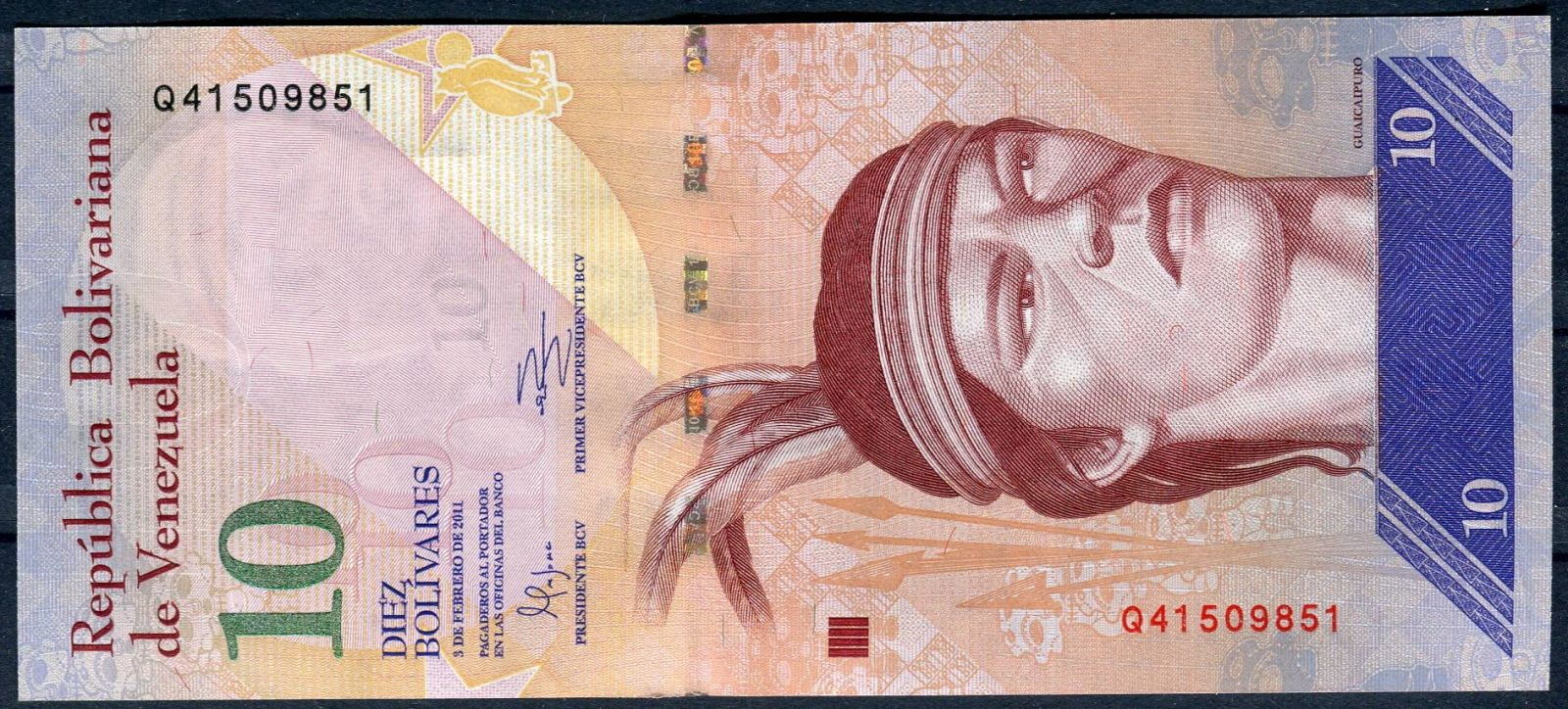 Bankovka 10 bolivares Venezuela - vydání 3.2.2011 - UNC   www.tgw.cz