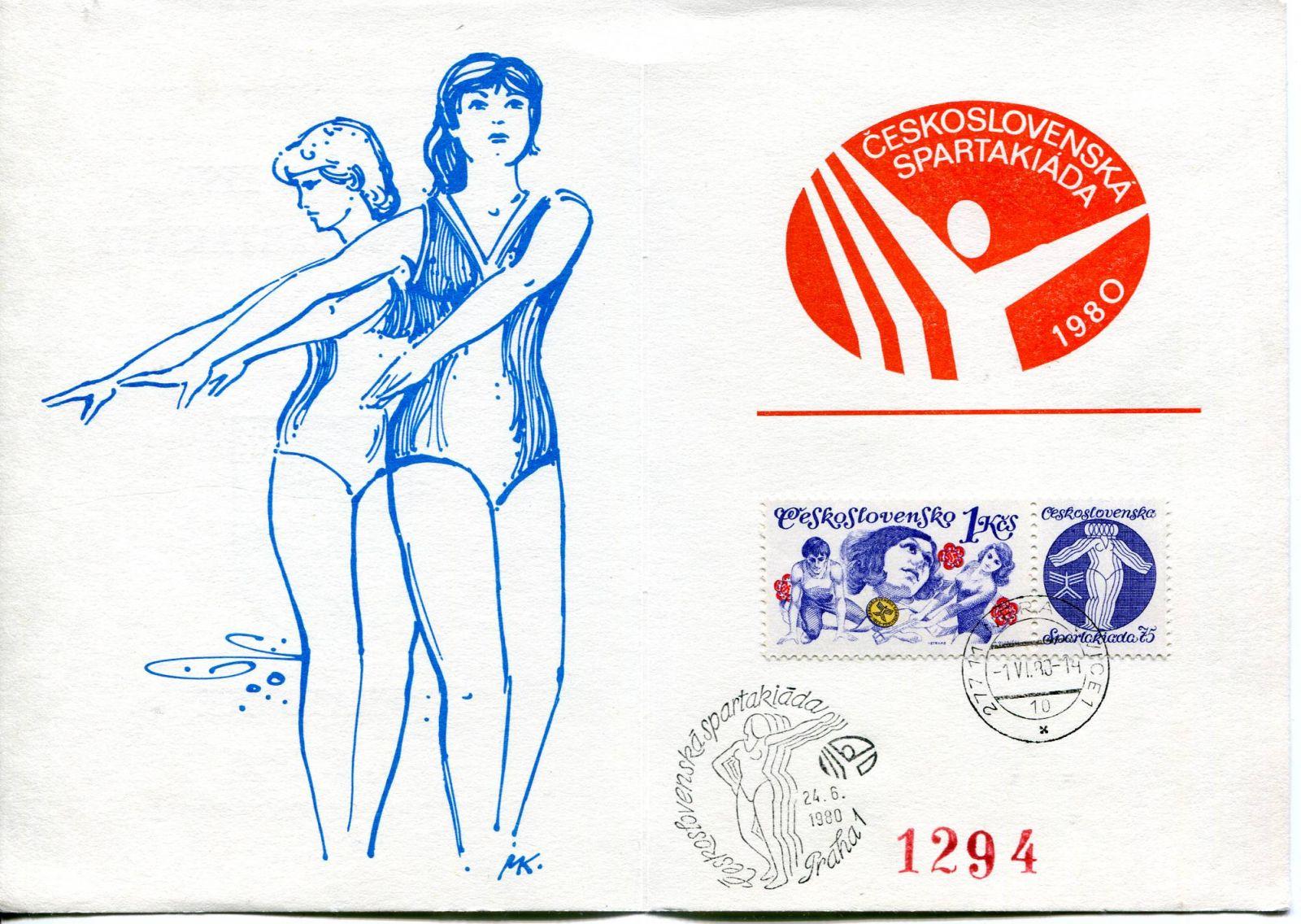 (1980) Pamětní list (čísl. 1294) - Okresní spartakiáda Mělník - Neratovice 1.6.1980 | www.tgw.cz