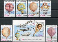 (1983) MiNr. 2725 - 2731 + BL. 76 - O - Kuba - 200 let letectví