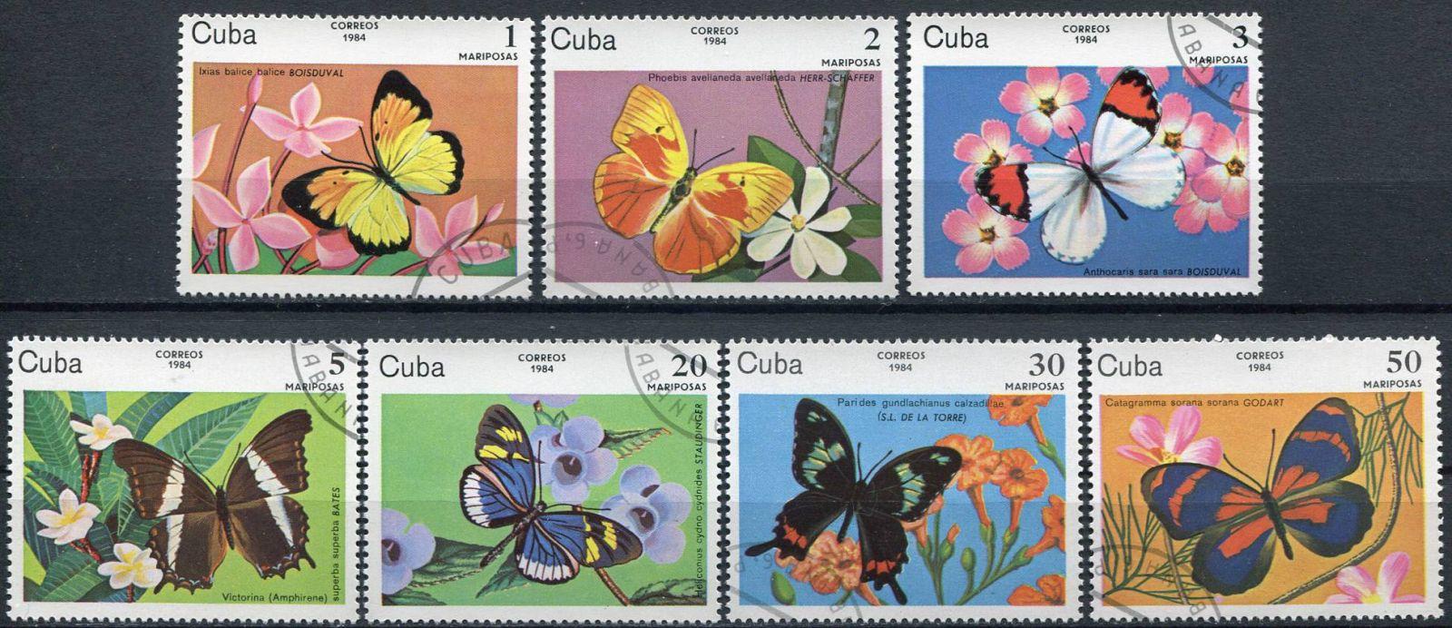(1984) MiNr. 2821 - 2827 - O - Kuba - Motýli   www.tgw.cz