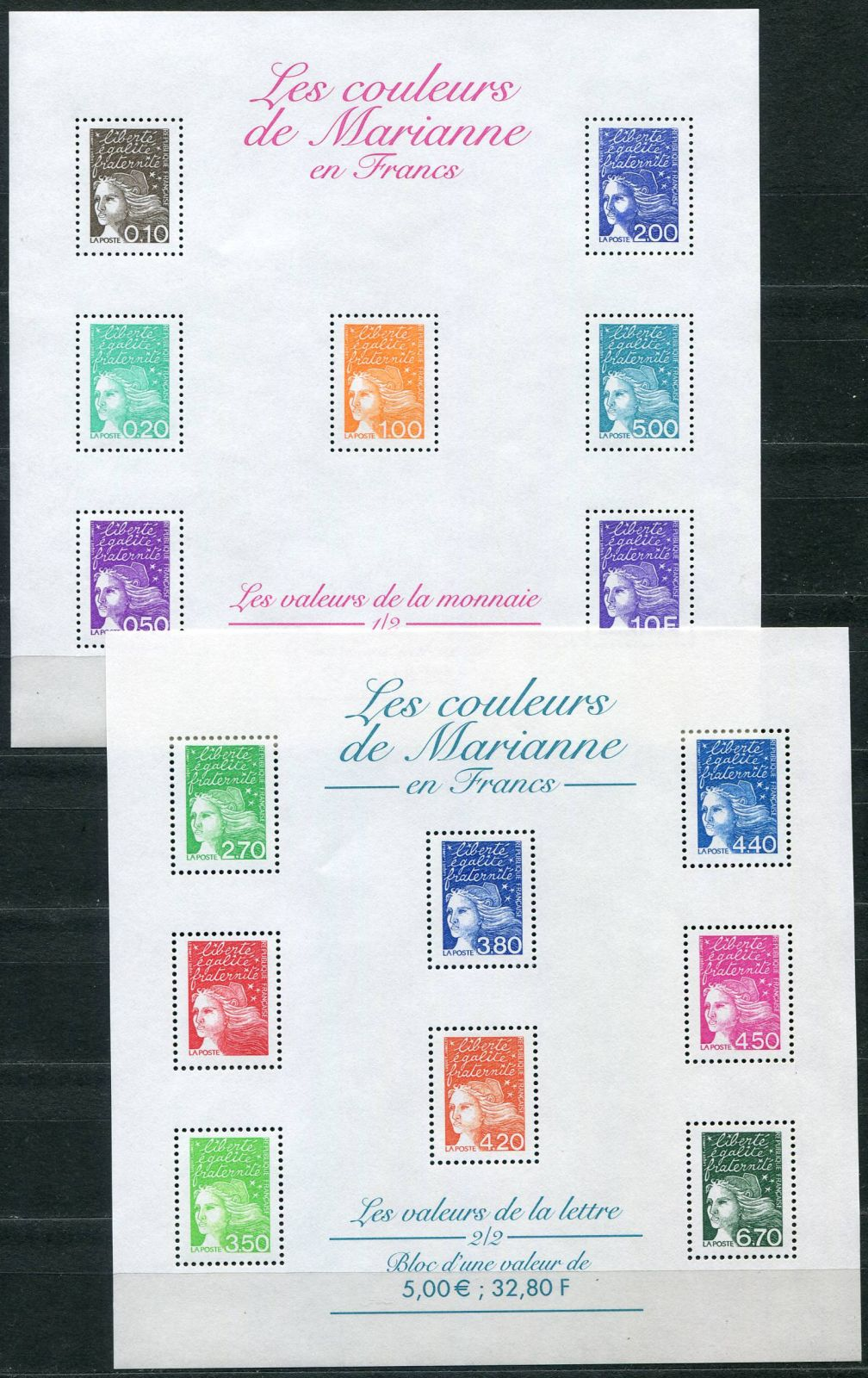 (2001) MiNr. 3233 - 3237 II + 3238 - 3244 II ** - Francie - PL - Marianne | www.tgw.cz