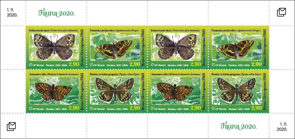 (2020) MiNr. 555 - 558 **, PL - Bosna (Mostar) - Fauna: motýli | www.tgw.cz