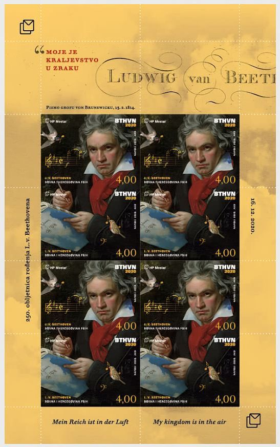 (2020) MiNr. 563 -564 **, PL - Bosna (Mostar) - Ludwig van Beethoven | www.tgw.cz