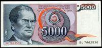 Jugoslávie - (P 93) 5000 DINARA 1985 - UNC