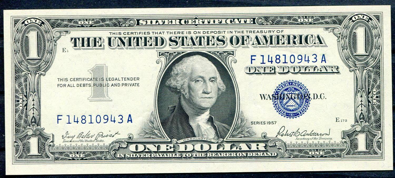 USA - P 419a - 1 dollar 1957, E série (F-A) - UNC (modrá pečeť)   www.tgw.cz