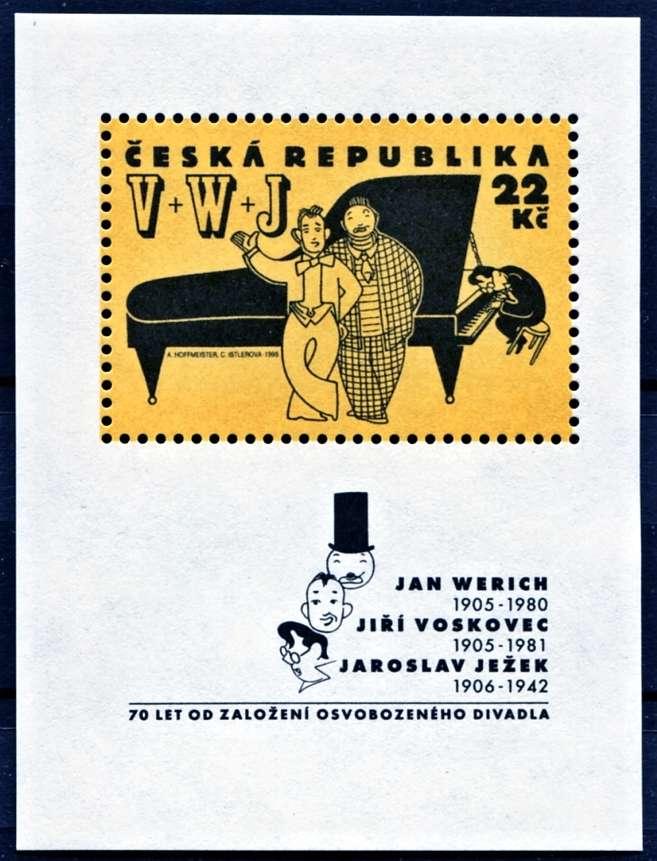 (1995) A 87 ** - 22 Kč - Česká Republika - Osobnosti Osvobozeného divadla