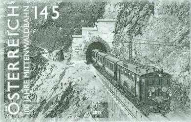 (2012) MiNr. 3020 - Rakousko - černotisk - Železnice (XVII): 100 let Mittenwaldbahn