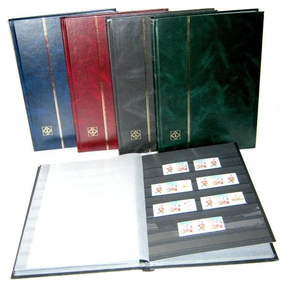 BASIC zásobník na známky - A4, 16 str., černé listy, průhledné pásky, nevat. desky Leuchtturm