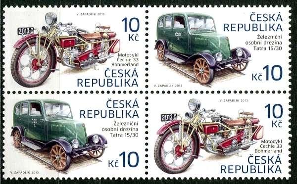 Česká pošta (2013) č. 768 - 769 ** - Česká republika - 4-bl - Historické dopravní prostředky M+D / D+M