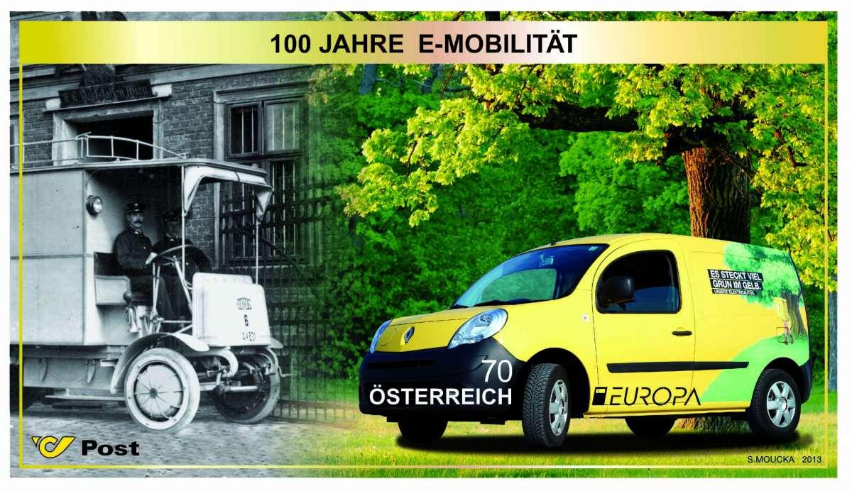 """(2013) MiNr. 3070 ** - Rakousko - BLOCK 75 - EVROPA 2013 """"Poštovní vozidla"""""""