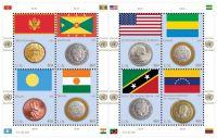 (2013) MiNr. 1379 - 1386 ** - Kleinbogen - UNO New York - Münzen und Flaggen