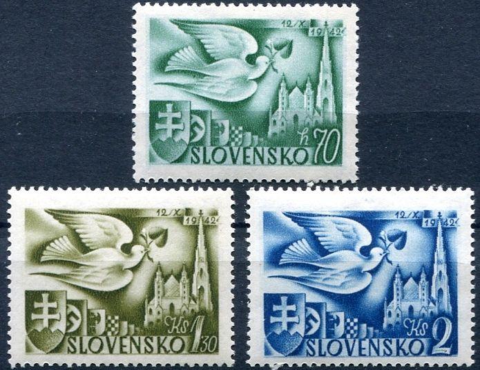 MiNr. 102 - 104 ** - Slovenský štát - Evropský poštovní kongres, Vídeň
