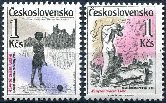 (1987) č. 2799 - 2800 ** - ČSSR -  45. výročí zničení Lidic a Ležáků