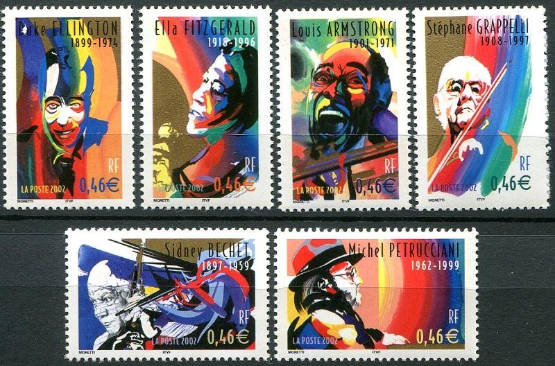 (2002) MiNr. 3637 - 3642 ** - Francie - Hudba - osobnosti