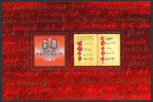 (2005) MiNr. 2529 - 2530 ** - Rakousko - BLOCK 28 - 60 let druhé republiky - 50 let Státní smlouvy